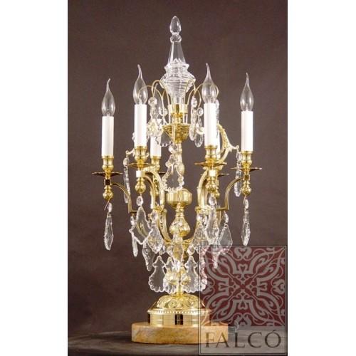 Candelabro de bronce con cristal